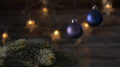 Two blue Christmas ball and spruce branches. Stock Footage