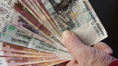 All Rubles. To Count Russian Banknotes. Sunny Day. Slow Motion Stock Footage