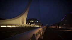 4k Dublin on Dusk, Samuel Beckett Bridge on Docklands Stock Footage