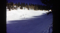 1961: party of 4 adults skiing downhill through a beautiful forest area ASPEN Stock Footage