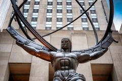 The famous Statue of Atlas holding the celestial spheres in New Stock Photos