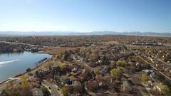 2016: birds eye view of beautiful city and lake COLORADO Stock Footage