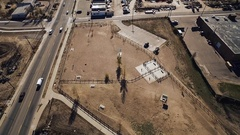 2016: aerial shot of a lonely place with a parking lot COLORADO Stock Footage