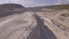 Aerial view on bucket wheel excavator and truck in coal mine Stock Footage