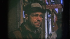 1958: person looking around and smiling, view of old townspeople KANSAS Stock Footage