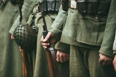 Close up of german military ammunition of a German soldier Stock Photos