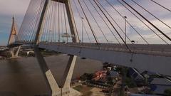 Flying over Bhumibol bridge Stock Footage