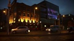 4k Dublin on Dusk, Bridge Ferryman Pub in Docklands Stock Footage