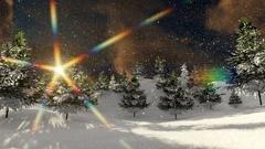 Snow over Christmas tree beautiful scene sunflares Stock Footage