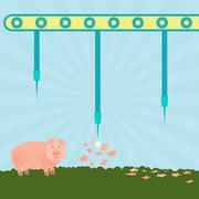 Needles exploding pigs Stock Illustration