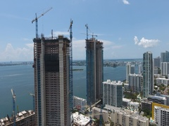 Miami Construction Site, Edgewater Highrise Stock Footage