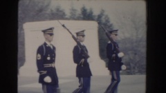 1960: soldiers march in formation at monuments WASHINGTON DC Stock Footage