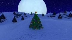Snow falling over Colorful Christmas tree,big moon Stock Footage