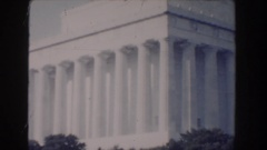 1960: the lincoln memorial and the washington monument on an overcast summer day Stock Footage