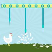 Needles exploding chickens Stock Illustration