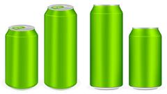 Green aluminium soft drink cans vector Stock Illustration