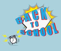 Back to school time with speech bubble and ringing alarm clock Stock Illustration