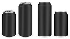Black aluminium soft drink cans vector Stock Illustration