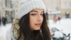 Street emotional portrait of young beautiful woman in city Model looking at Stock Footage