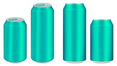 Light blue aluminium soft drink cans vector Stock Illustration