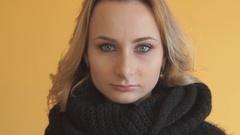 Beautiful woman with flu sneezing sad Arkistovideo