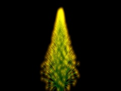 Vibrant 3d particles forming into a glowing yellow , green pine / Christmas tree Stock Footage