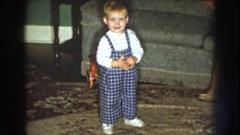 1959: a small boy crying and walking forward. NEBRASKA Stock Footage