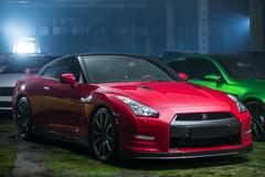Red-black Nissan GT-R tuning Stock Photos