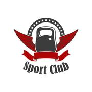Sport club sign of kettlebell with wings Stock Illustration
