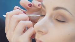 Eye makeup woman applying eyeshadow powder. Beautiful woman face. Perfect makeup Stock Footage