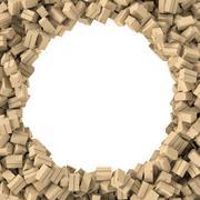Rendering round frame made of light beige cardboard mail boxes Stock Illustration