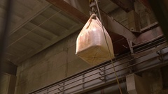 Brickyard. View of suspension crane with bag Stock Footage