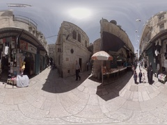 Via Dolorosa in Old City Jerusalem is the road Jesus walked with the cross 360VR Stock Footage