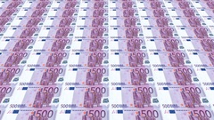 Infinite movement of eurobanknotes Stock Footage
