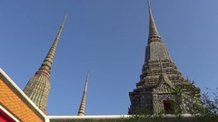 4K Phra Maha Chedi Si Ratchakan in Wat Pho a Buddhist temple in Bangkok-Dan Stock Footage