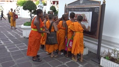 4K group of monks visiting and see the map and signal of Directory Wat Pho -Dan Stock Footage