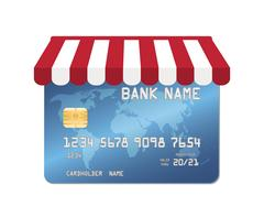 Blue credit card with shopping store awning Stock Illustration
