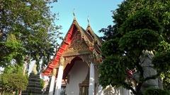 4K Phra Chedi Rai of Wat Pho. Outside Phra Rabiang cloisters are many chedis-Dan Stock Footage