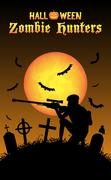 Halloween zombie hunter with sniper at graveyard Piirros