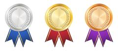 A Gold Silver Bronze badge Stock Illustration