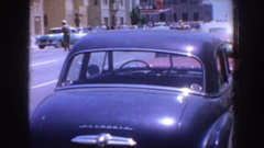 1952: a group of people marching downtown and some shots of the city CALIFORNIA Stock Footage