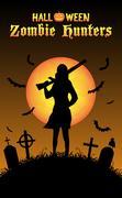 Halloween zombie hunter with shotgun at graveyard Stock Illustration