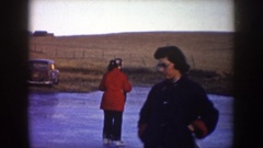 1953: a couple happily ice skating NORTH DAKOTA Stock Footage