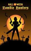 Halloween zombie hunter with handgun at graveyard Stock Illustration