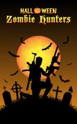 Halloween zombie hunter with machine gun at graveyard Stock Illustration