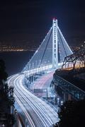 New San Francisco-Oakland Bay Bridge Night Kuvituskuvat