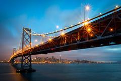 Bay Bridge San Francisco Night Skyline Kuvituskuvat