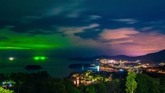 Phuket at night in a storm, Patong, Karon and Kata Beach, taken from viewpoint Stock Footage