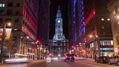 Philadelphia City Hall and Broad Street Timelapse Stock Footage