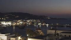 Night pan of chora on the island of mykonos, greece Stock Footage